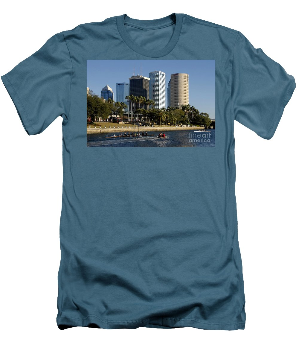 Sculling Men's T-Shirt (Athletic Fit) featuring the photograph Sculling In Tampa Bay Florida by David Lee Thompson