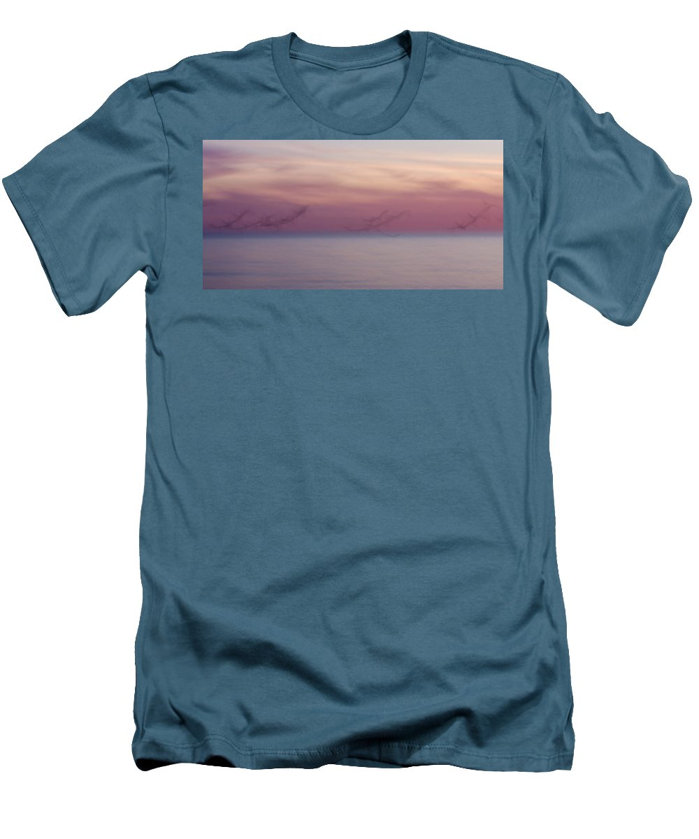 3scape Men's T-Shirt (Athletic Fit) featuring the photograph Seagulls In Motion by Adam Romanowicz
