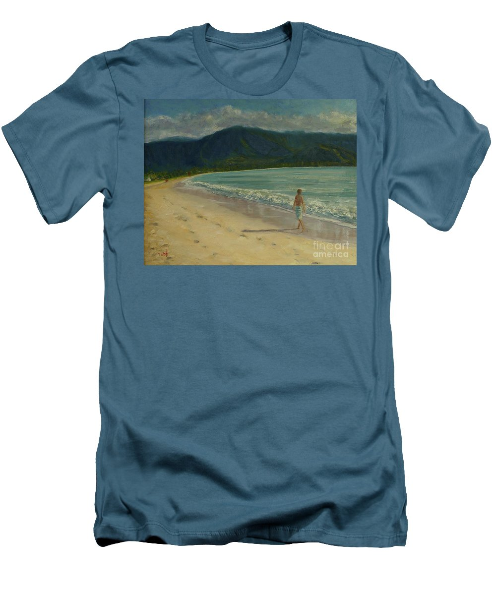 Hanalei Men's T-Shirt (Athletic Fit) featuring the painting She Looks Straight Ahead by Laura Toth