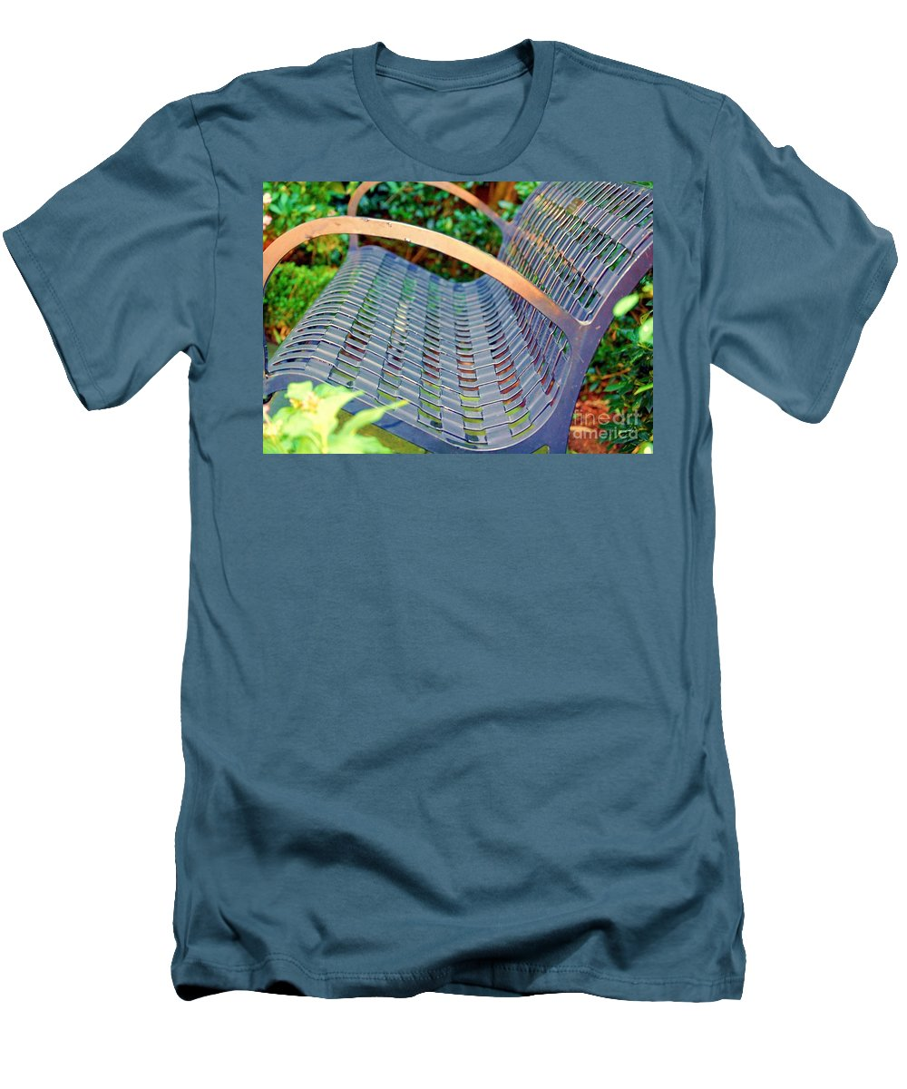 Bench Men's T-Shirt (Athletic Fit) featuring the photograph Sitting On A Park Bench by Debbi Granruth