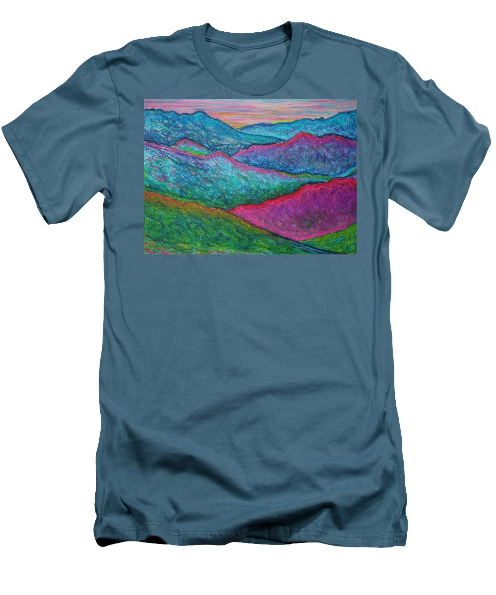 Oil Pastels Men's T-Shirt (Athletic Fit) featuring the painting Smoky Mountain Abstract by Nancy Mueller
