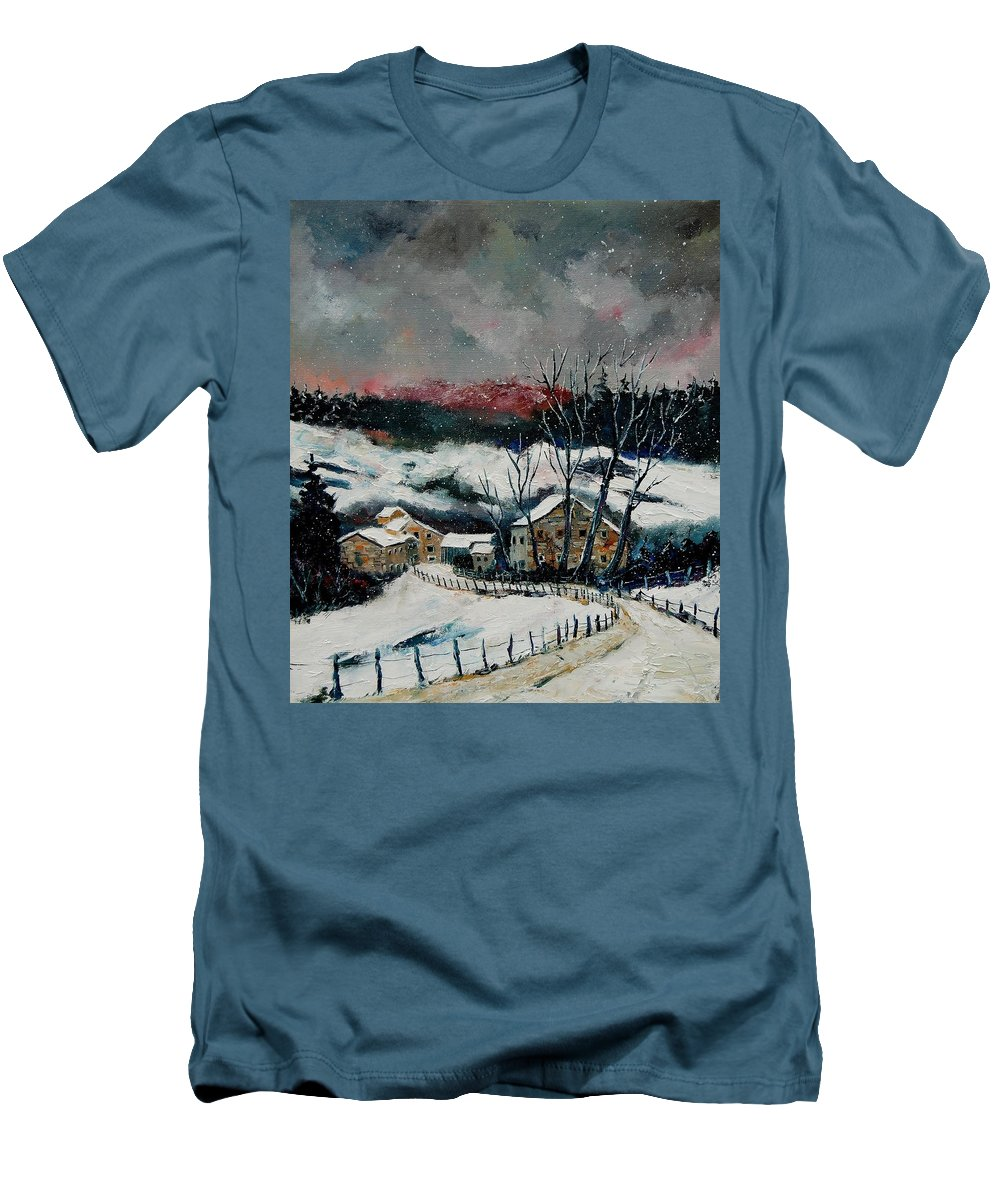 Winter Men's T-Shirt (Athletic Fit) featuring the painting Snow In Sechery Redu by Pol Ledent