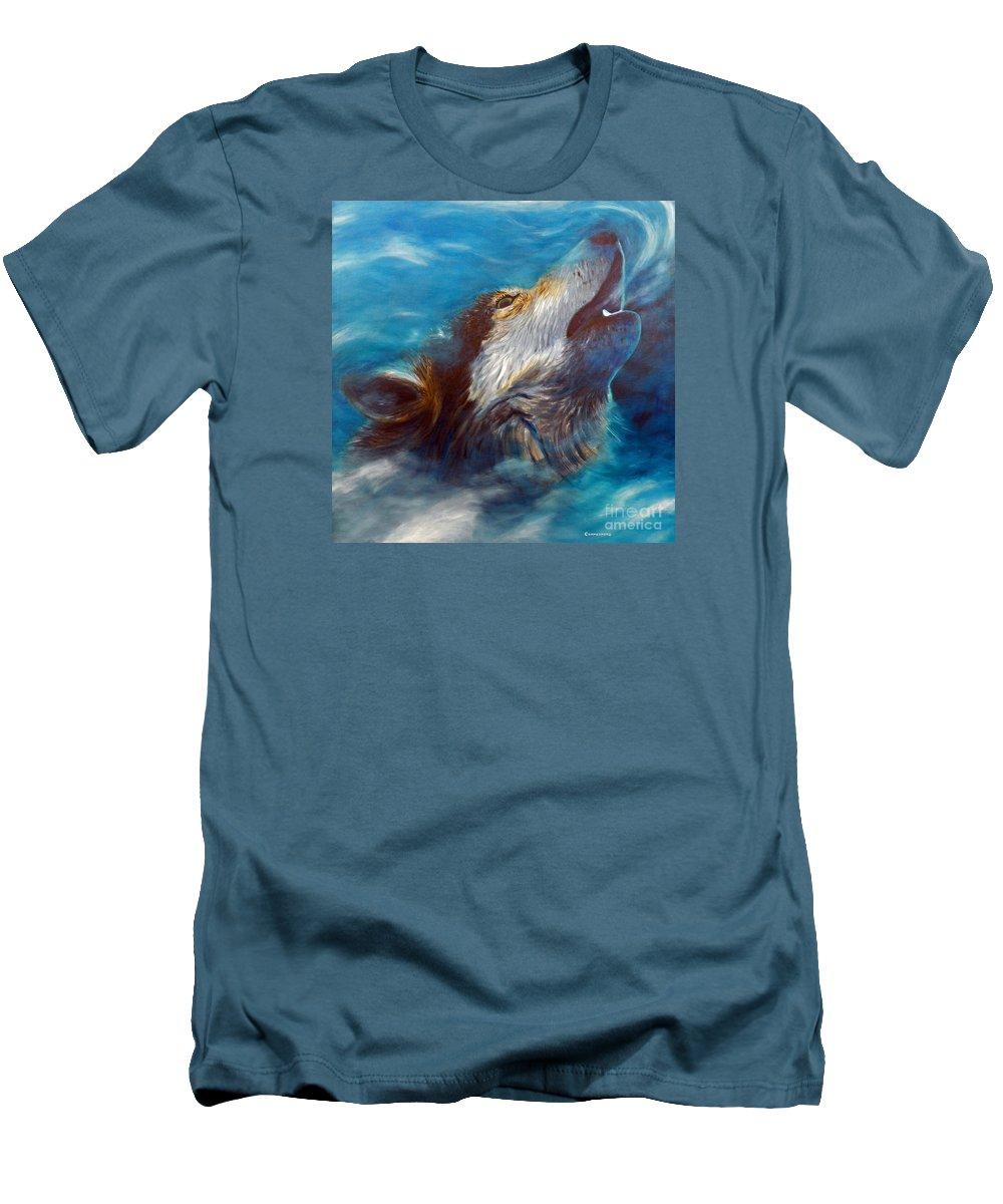 Wolf Men's T-Shirt (Athletic Fit) featuring the painting Spirit Of The Wolf by Brian Commerford