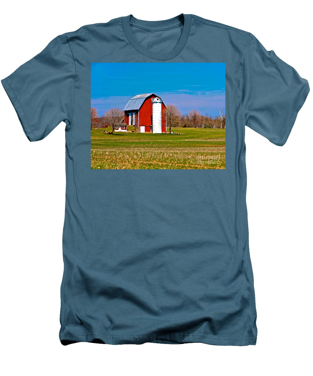 Barn Men's T-Shirt (Athletic Fit) featuring the photograph Spring Time On The Farm by Robert Pearson