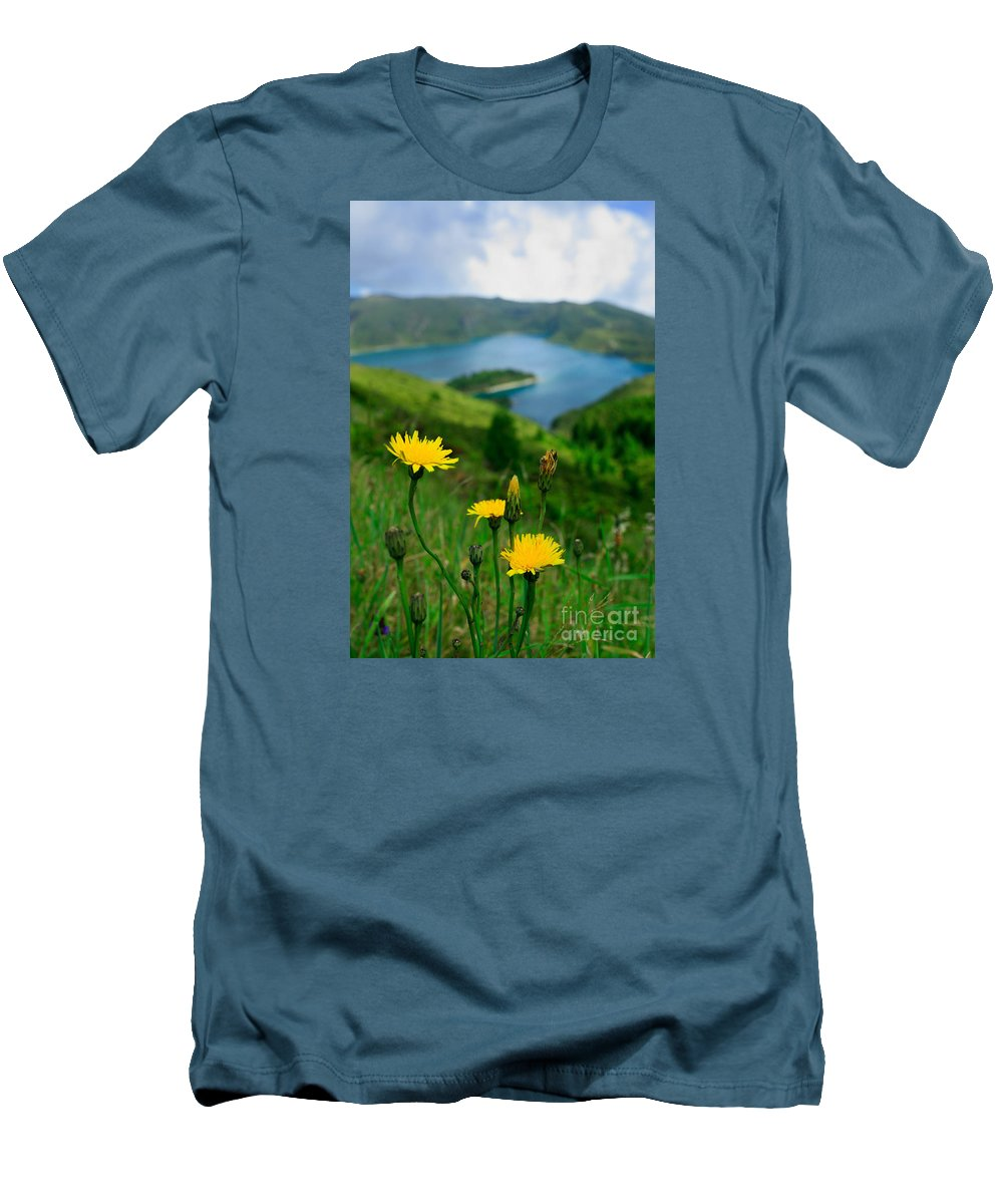Caldera Men's T-Shirt (Athletic Fit) featuring the photograph Springtime In Fogo Crater by Gaspar Avila