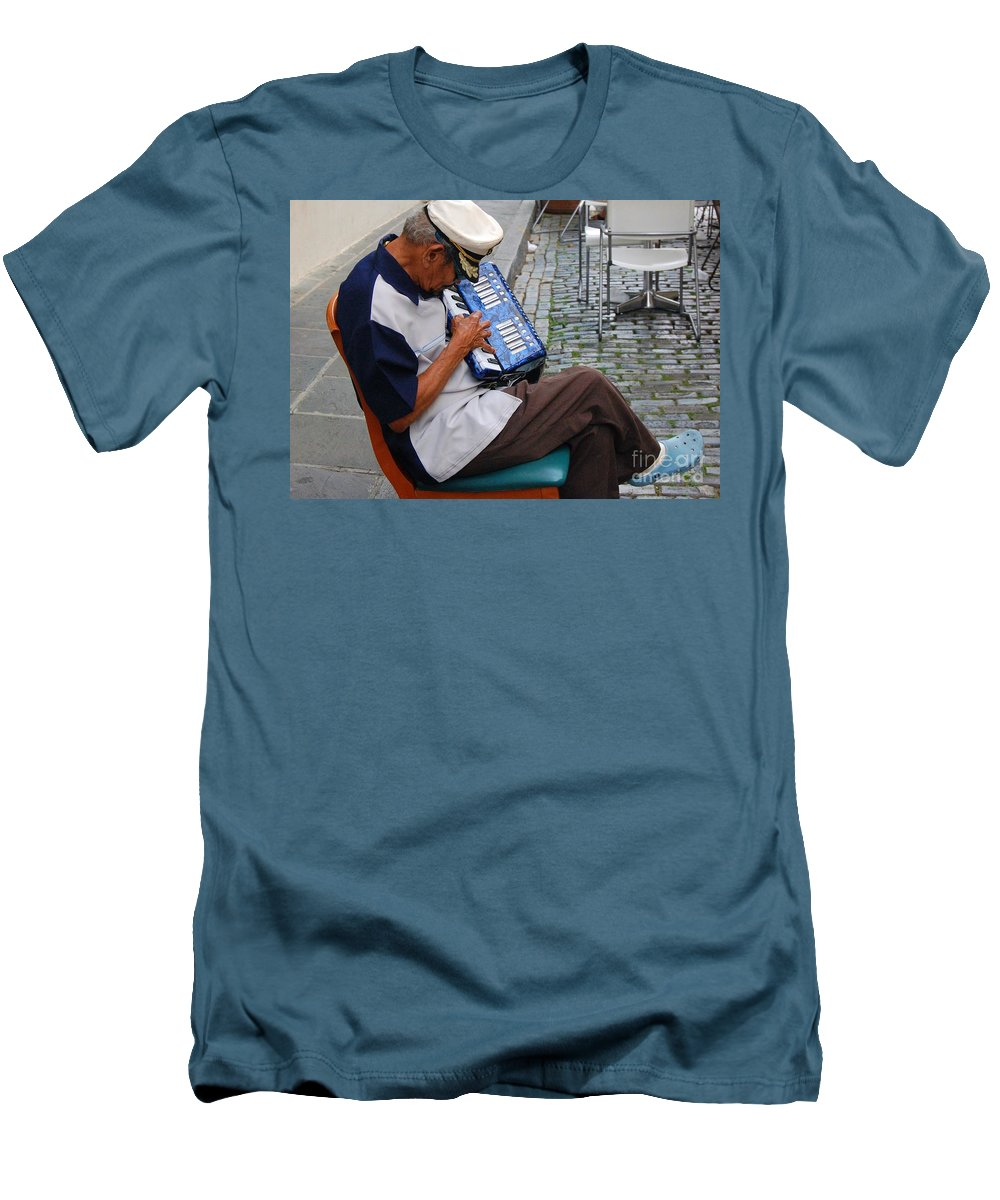 People Men's T-Shirt (Athletic Fit) featuring the photograph Squeeze Box by Debbi Granruth
