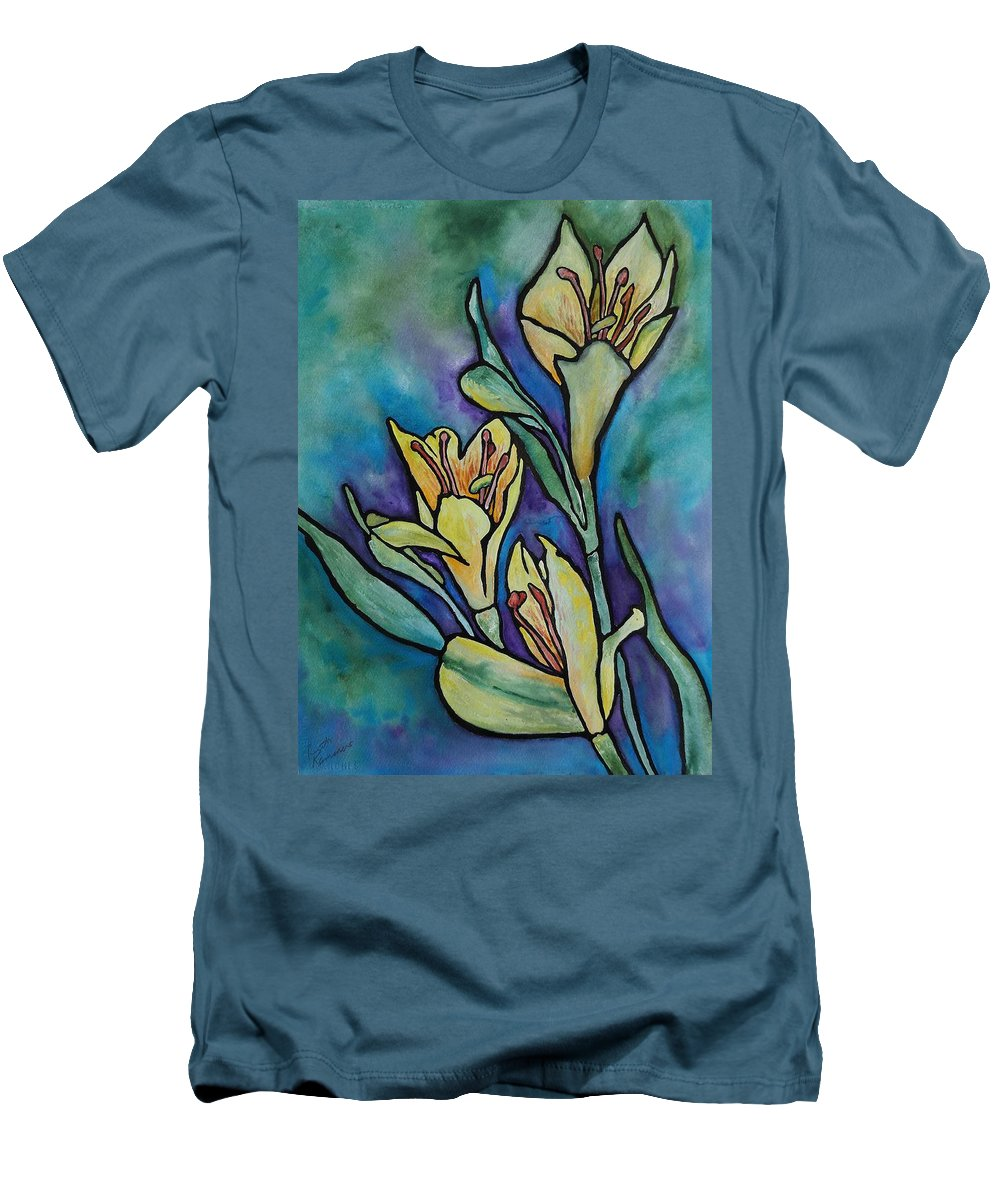Flowers Men's T-Shirt (Athletic Fit) featuring the painting Stained Glass Flowers by Ruth Kamenev