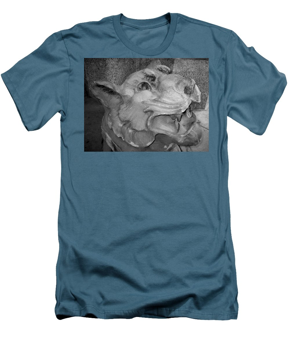 Sculpture Men's T-Shirt (Athletic Fit) featuring the photograph Stone Lion by Anita Burgermeister