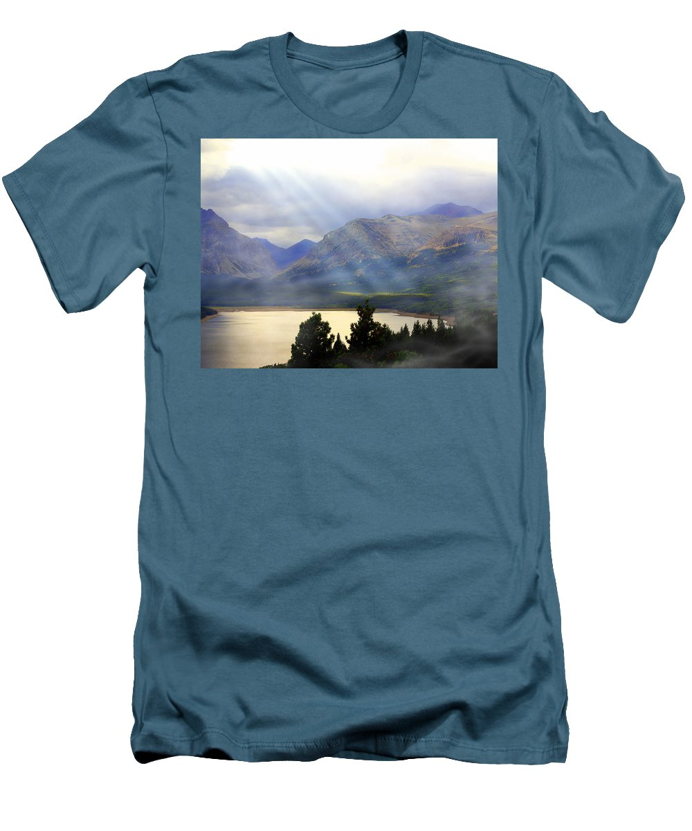 Glacier National Park Men's T-Shirt (Athletic Fit) featuring the photograph Storms A Coming-lower Two Medicine Lake by Marty Koch