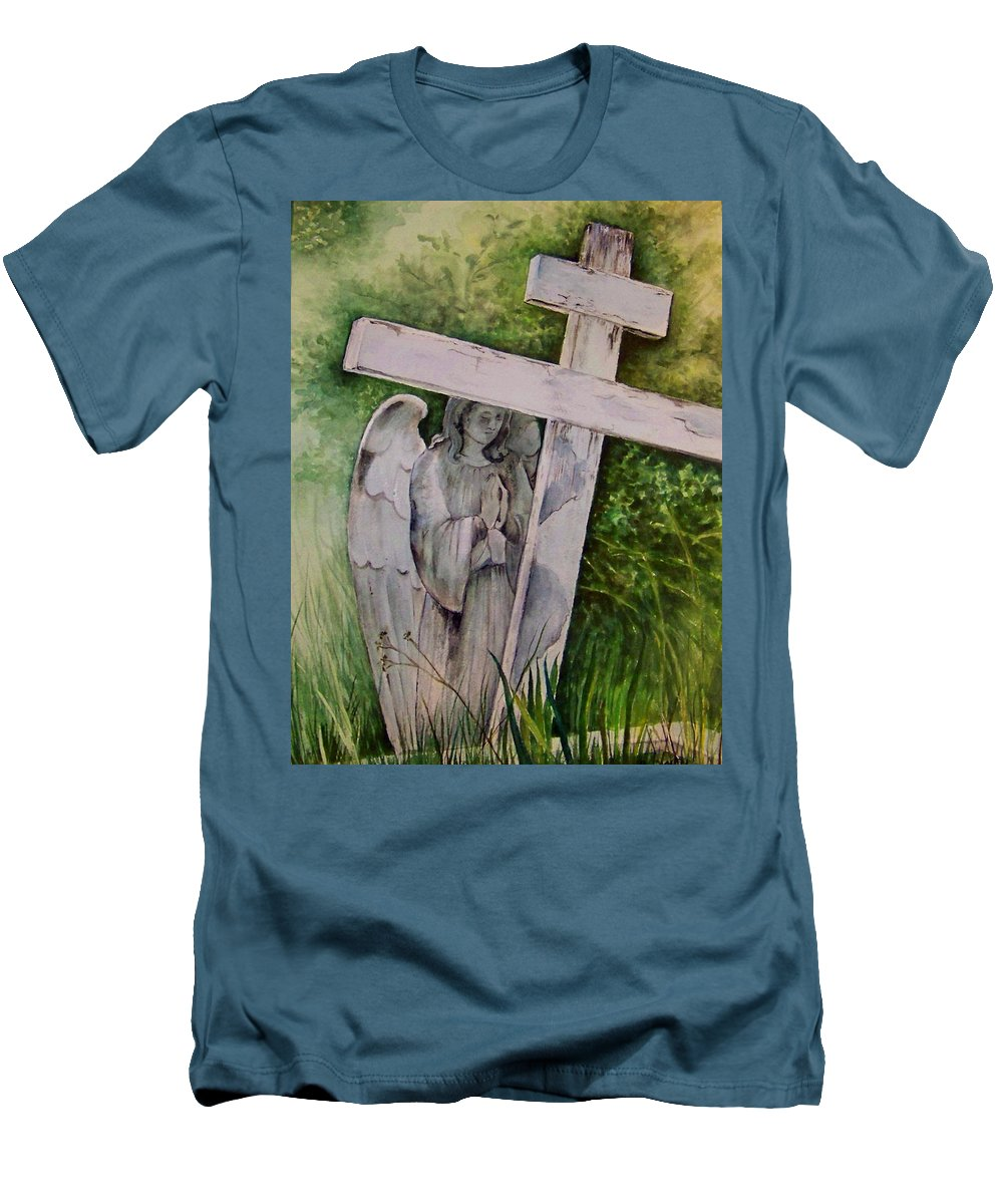 Watercolor Men's T-Shirt (Athletic Fit) featuring the painting Sublime Watcher by Brenda Owen