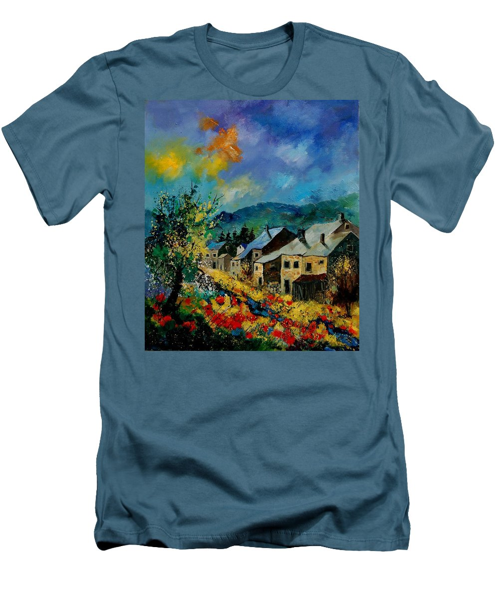 Poppies Men's T-Shirt (Athletic Fit) featuring the painting Summer In Mogimont by Pol Ledent