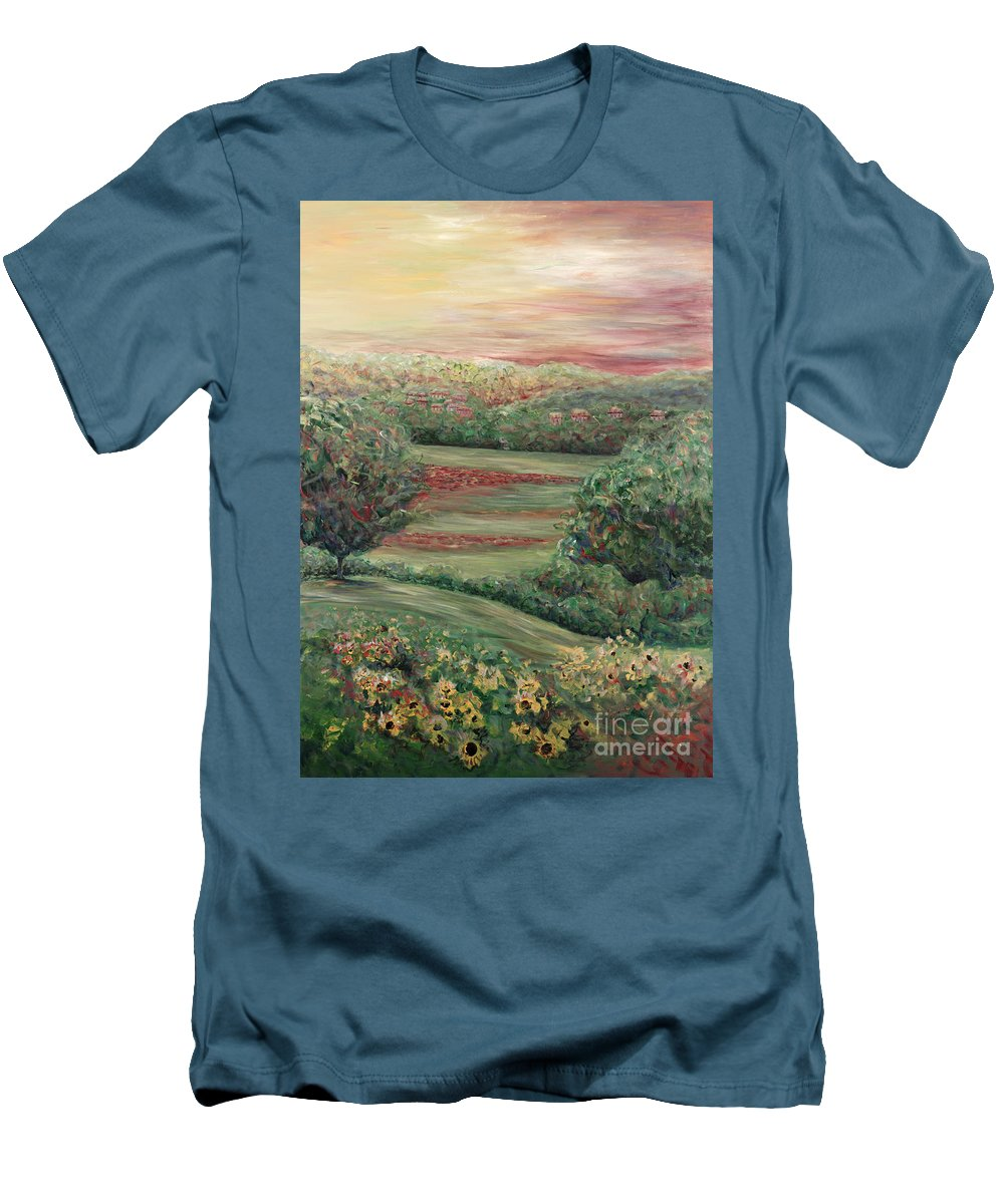 Landscape Men's T-Shirt (Athletic Fit) featuring the painting Summer In Tuscany by Nadine Rippelmeyer