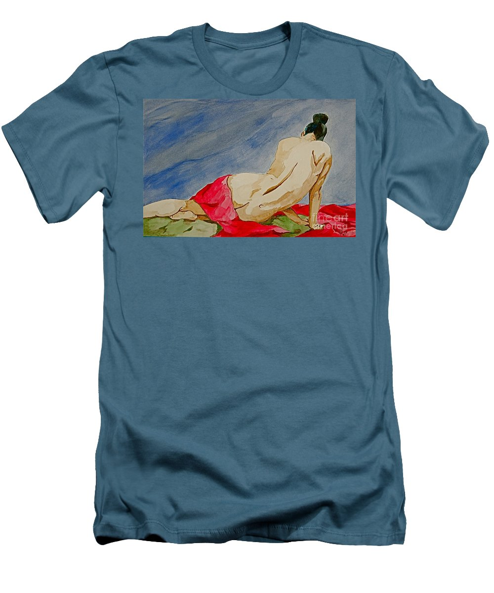 Nudes Red Cloth Men's T-Shirt (Athletic Fit) featuring the painting Summer Morning 2 by Herschel Fall