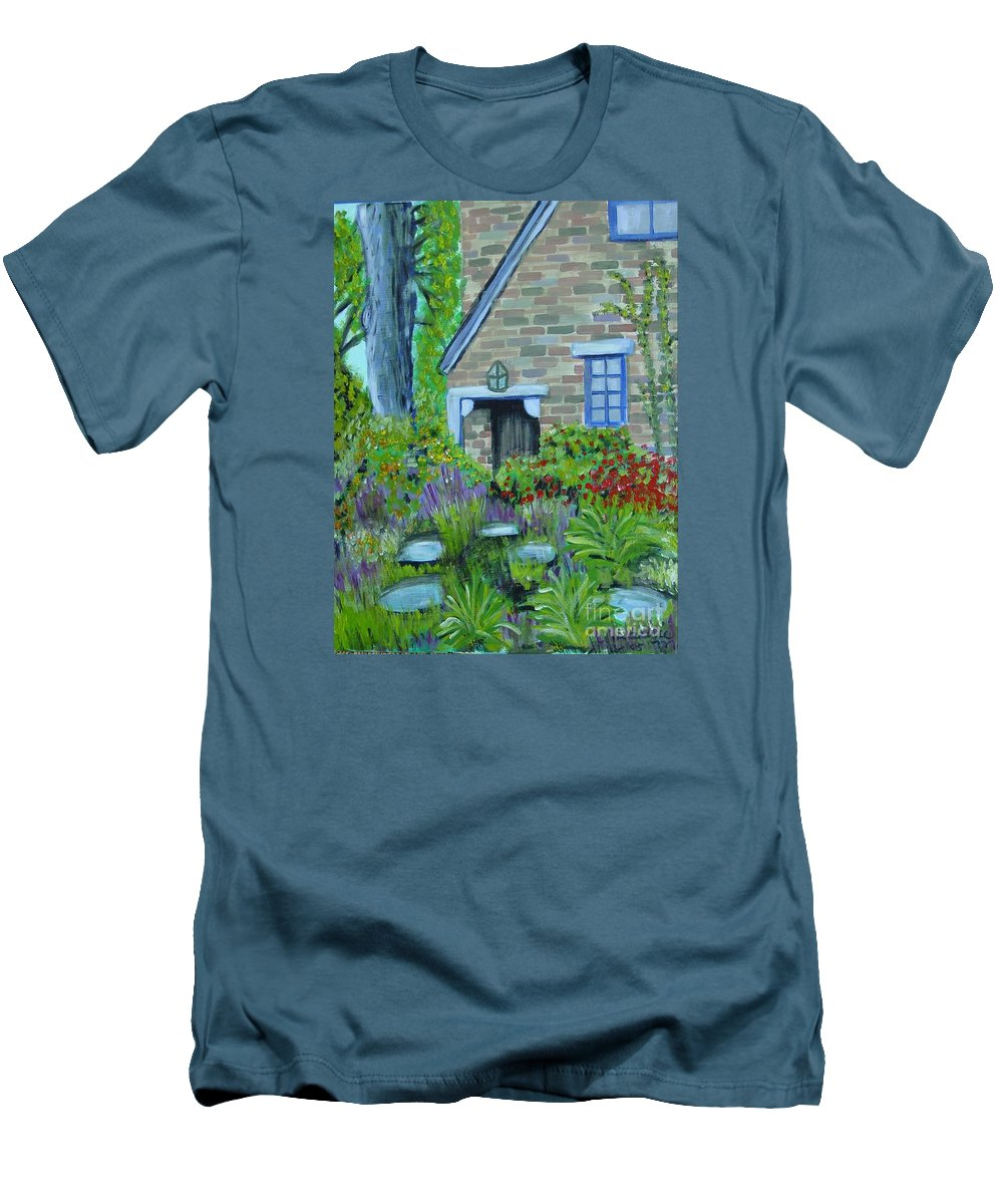 Cottage Men's T-Shirt (Athletic Fit) featuring the painting Summer Retreat by Laurie Morgan