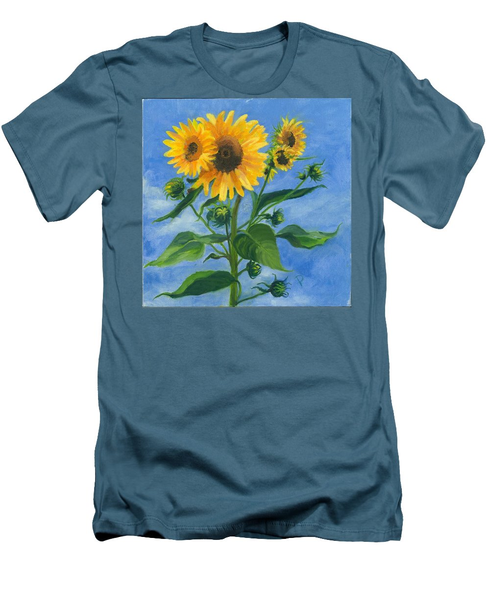 Flowers Men's T-Shirt (Athletic Fit) featuring the painting Sunflowers On Bauer Farm by Paula Emery