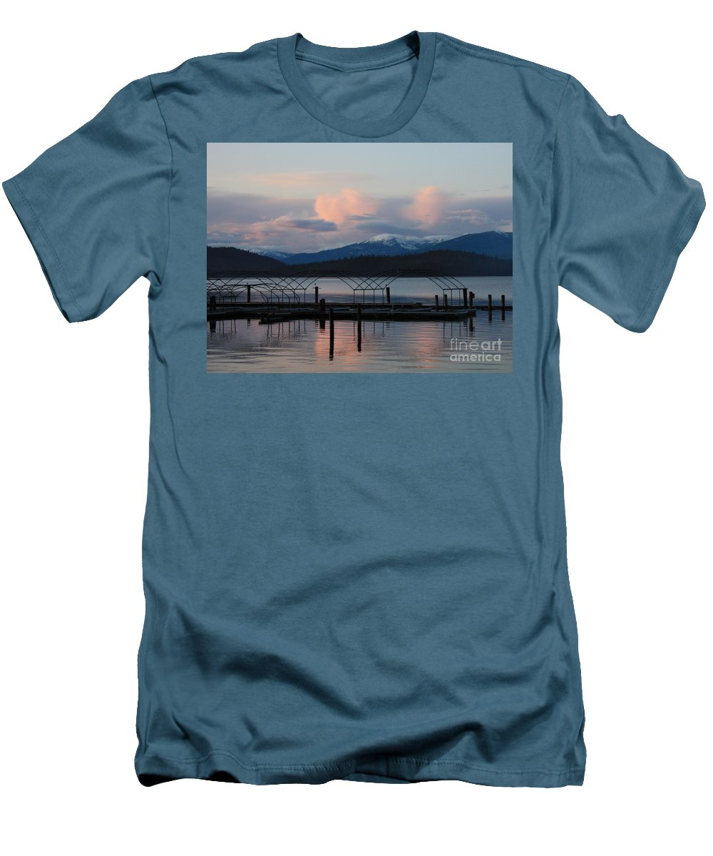 Priest Lake Men's T-Shirt (Athletic Fit) featuring the photograph Sunset Reflecting Off Priest Lake by Carol Groenen
