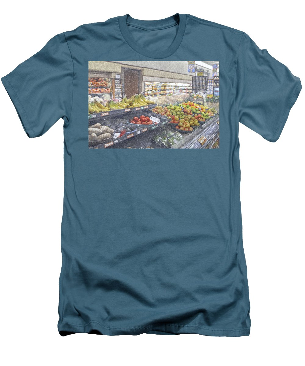 Supermarket Produce Section Men's T-Shirt (Athletic Fit) featuring the photograph Supermarket Produce Section by David Zanzinger