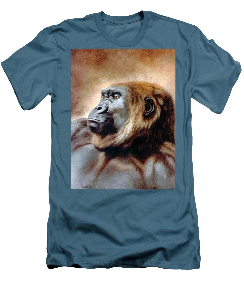 Gorilla Men's T-Shirt (Athletic Fit) featuring the painting Suzie Q by Deb Owens-Lowe