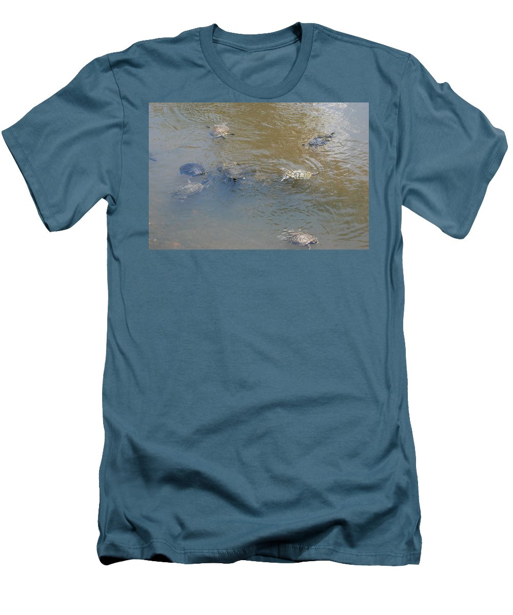 Water Men's T-Shirt (Athletic Fit) featuring the photograph Swimming Turtles by Rob Hans