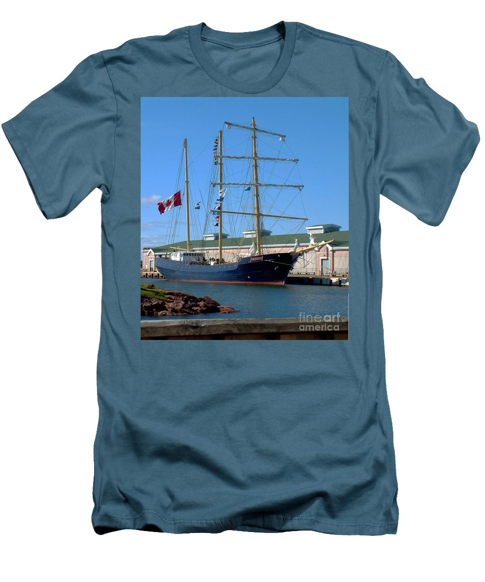 Dock Men's T-Shirt (Athletic Fit) featuring the photograph Tall Ship Waiting by RC DeWinter