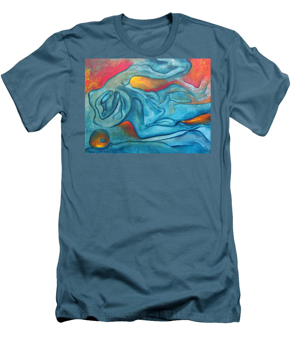 Abstract Blues Love Passion Sensual Earth Men's T-Shirt (Athletic Fit) featuring the painting Tangled Up by Veronica Jackson