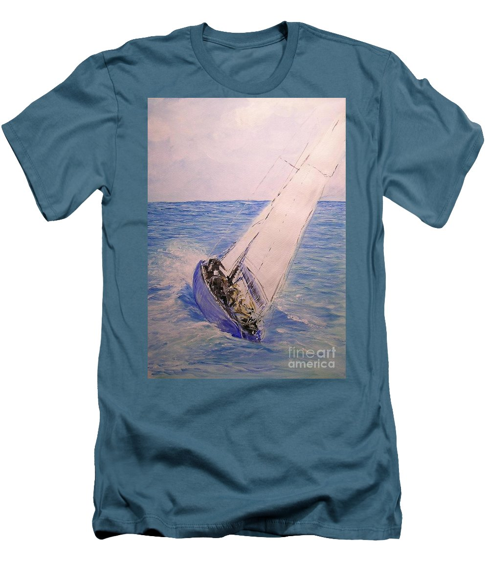 Seascape Men's T-Shirt (Athletic Fit) featuring the painting Tell Tails In The Wind by Lizzy Forrester