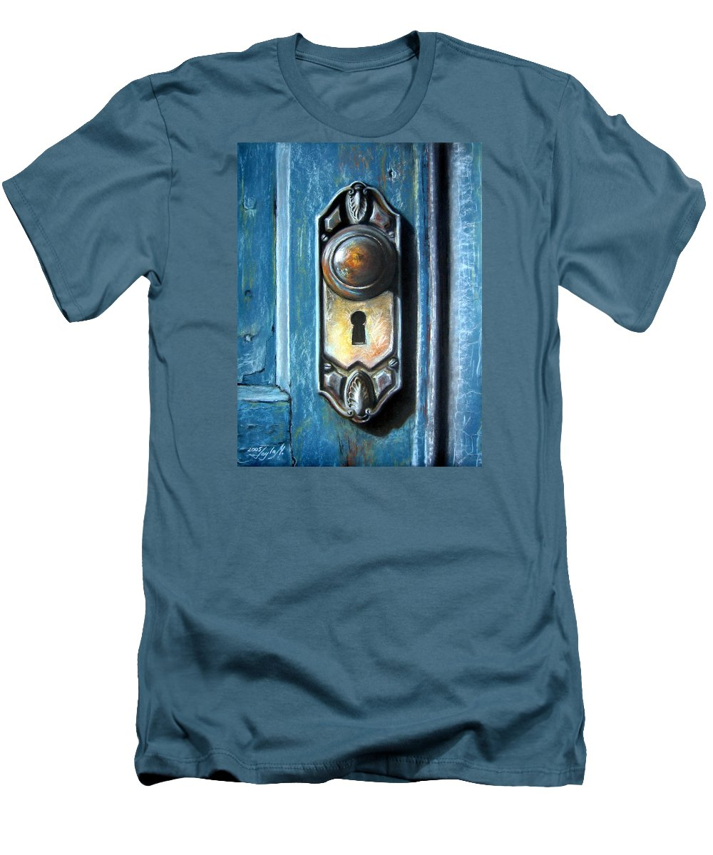 Door Knob Men's T-Shirt (Athletic Fit) featuring the painting The Door Knob by Leyla Munteanu