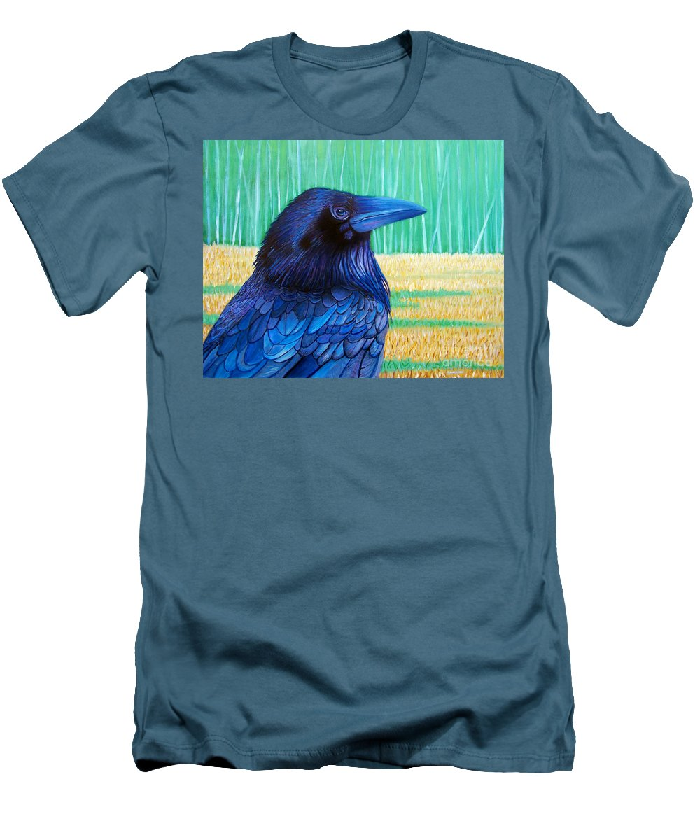 Raven Men's T-Shirt (Athletic Fit) featuring the painting The Field Of Dreams by Brian Commerford