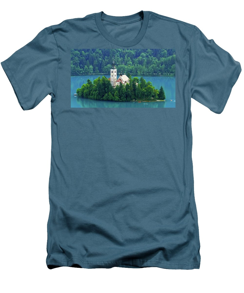 Island Men's T-Shirt (Athletic Fit) featuring the photograph The Island by Daniel Csoka