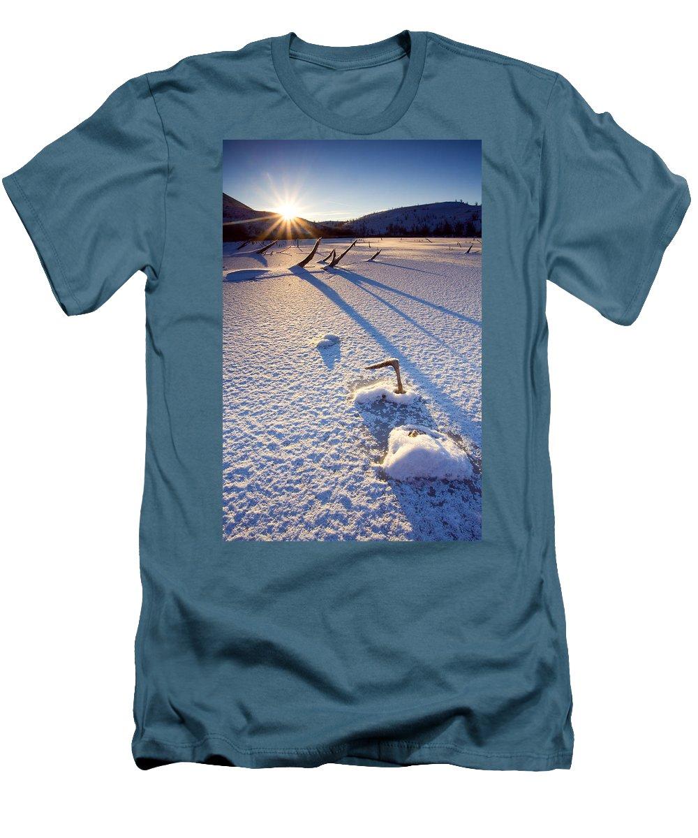 Sunrise Men's T-Shirt (Athletic Fit) featuring the photograph The Long Shadows Of Winter by Mike Dawson