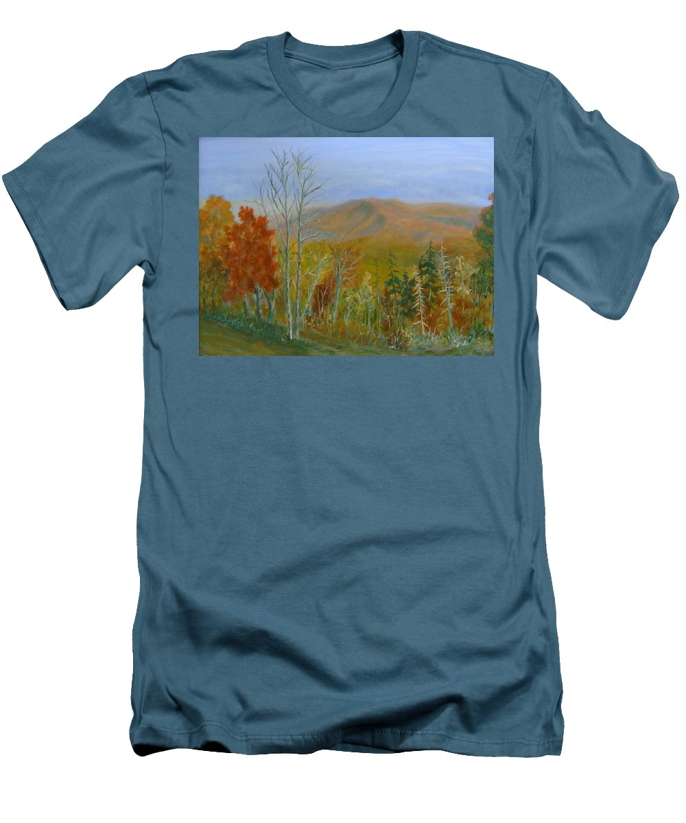 Mountains; Trees; Fall Colors Men's T-Shirt (Athletic Fit) featuring the painting The Parkway View by Ben Kiger