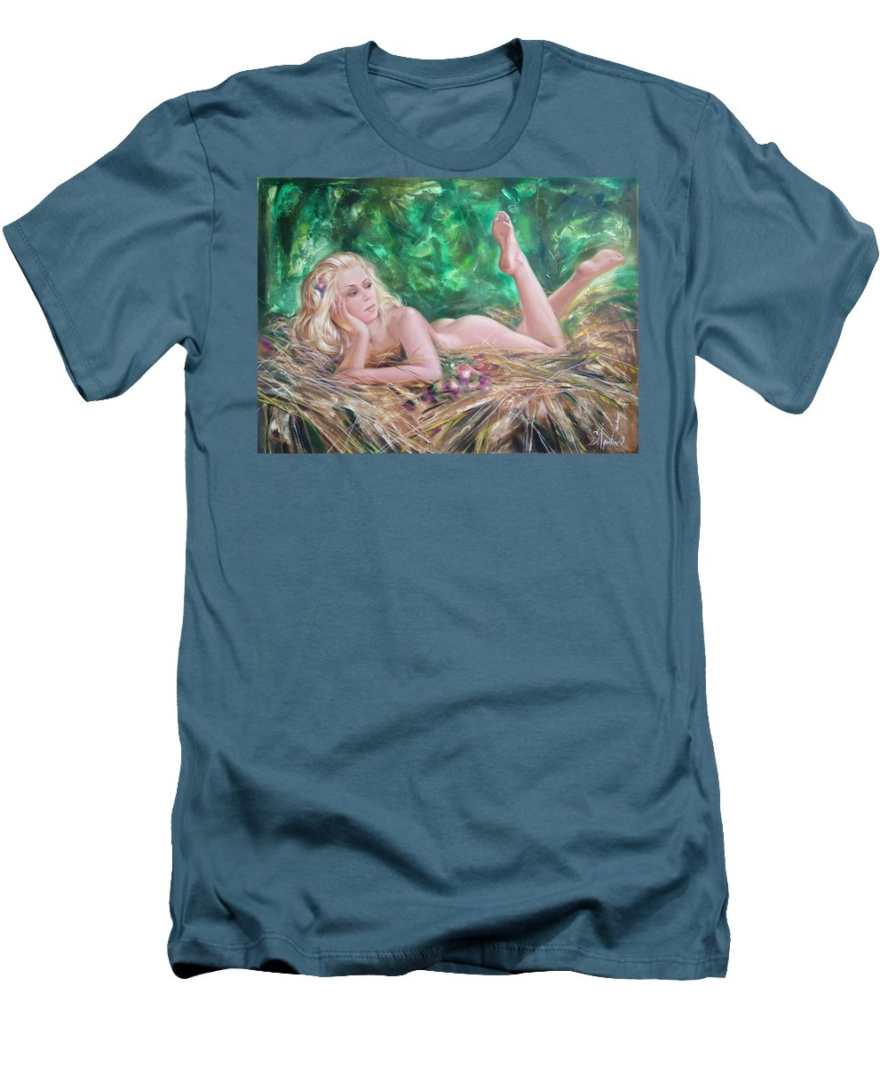 Ignatenko Men's T-Shirt (Athletic Fit) featuring the painting The Pretty Summer by Sergey Ignatenko