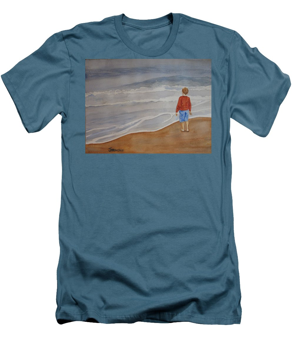 Boy Men's T-Shirt (Athletic Fit) featuring the painting The Red Shirt by Jenny Armitage