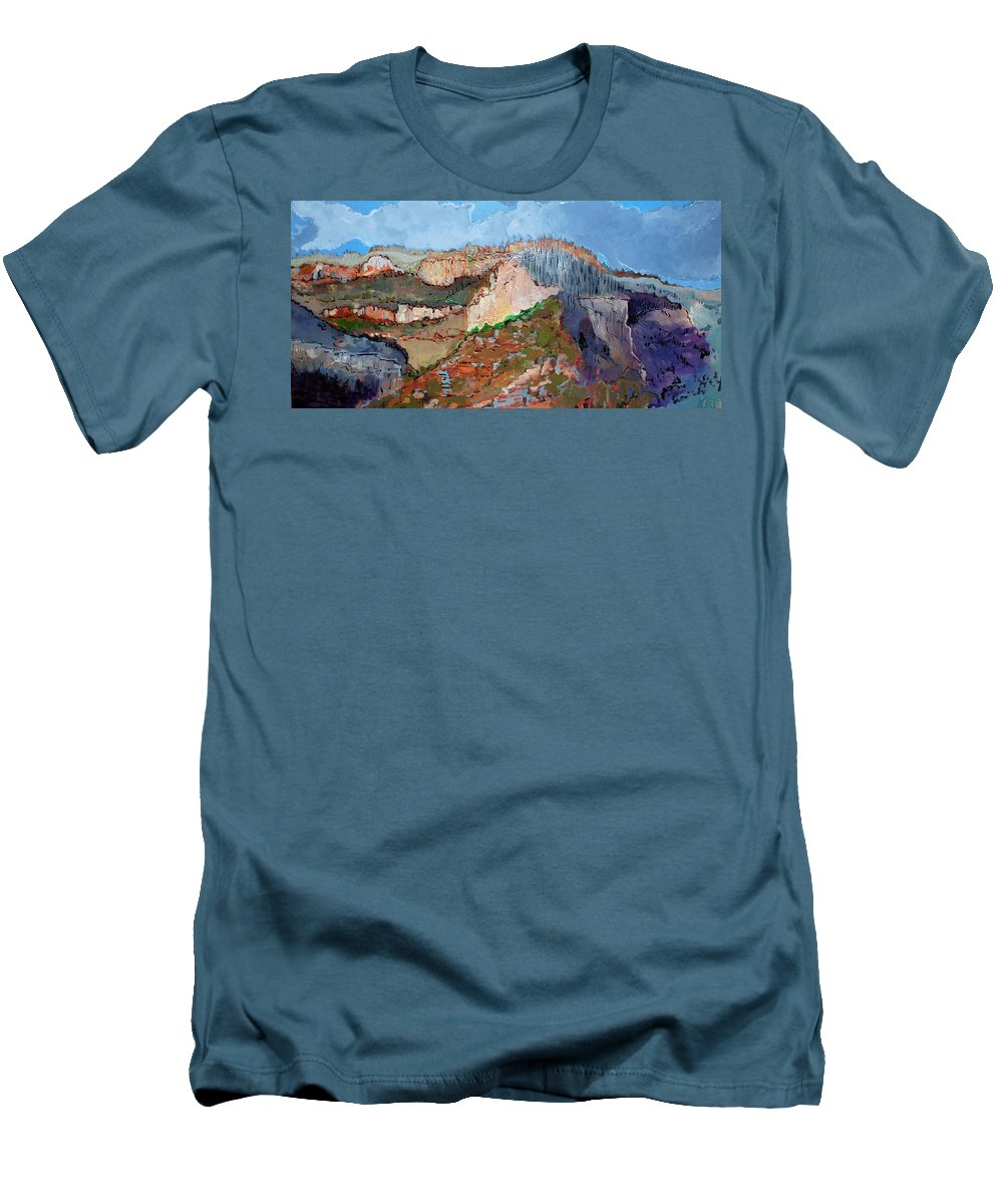 Mountains Men's T-Shirt (Athletic Fit) featuring the painting The Rockies by Kurt Hausmann