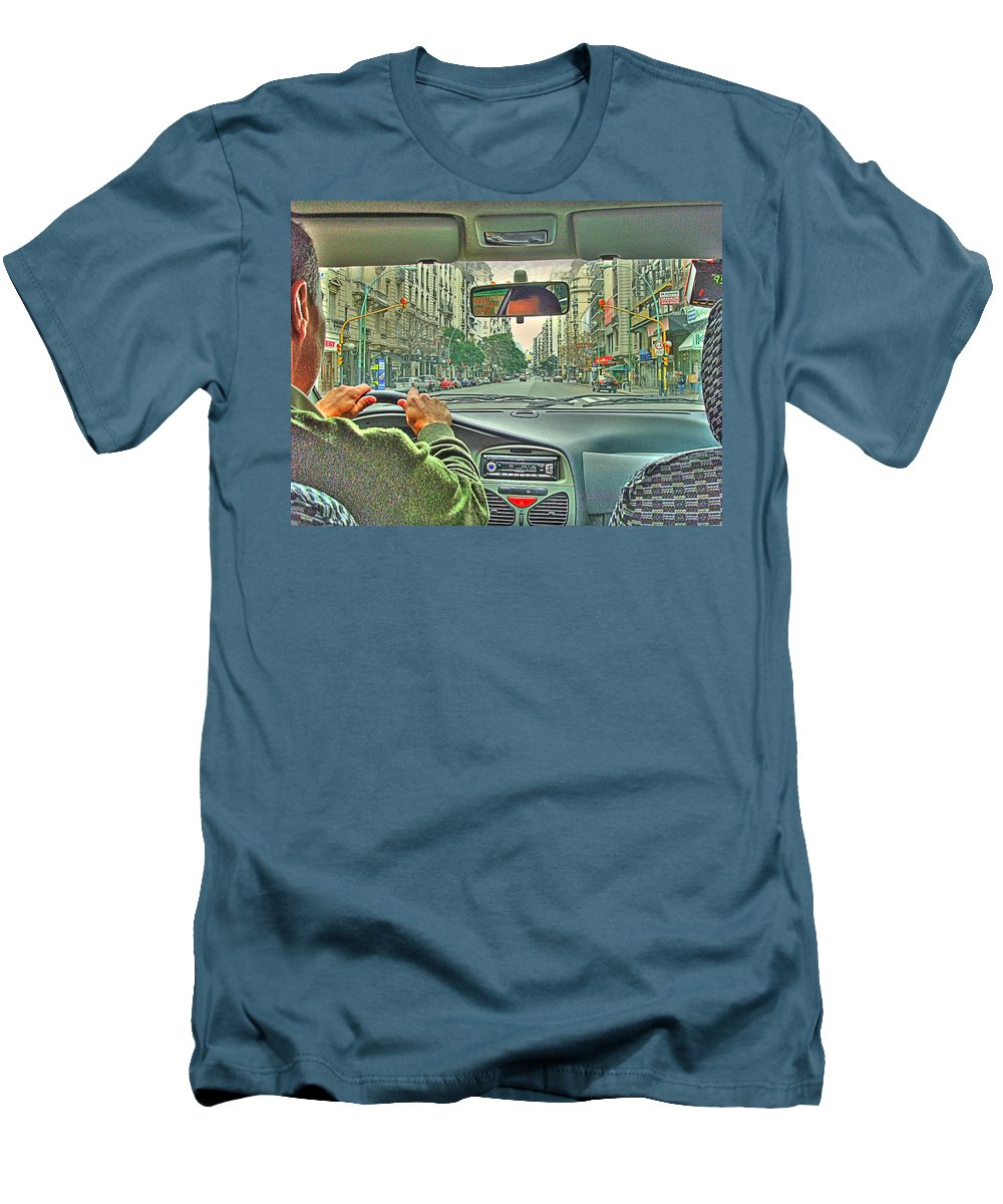 Taxi Men's T-Shirt (Athletic Fit) featuring the photograph the Taxi Driver by Francisco Colon
