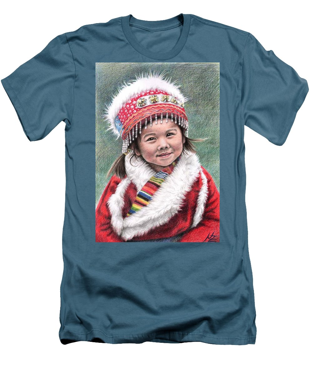 Girl Men's T-Shirt (Athletic Fit) featuring the drawing Tibetan Girl by Nicole Zeug