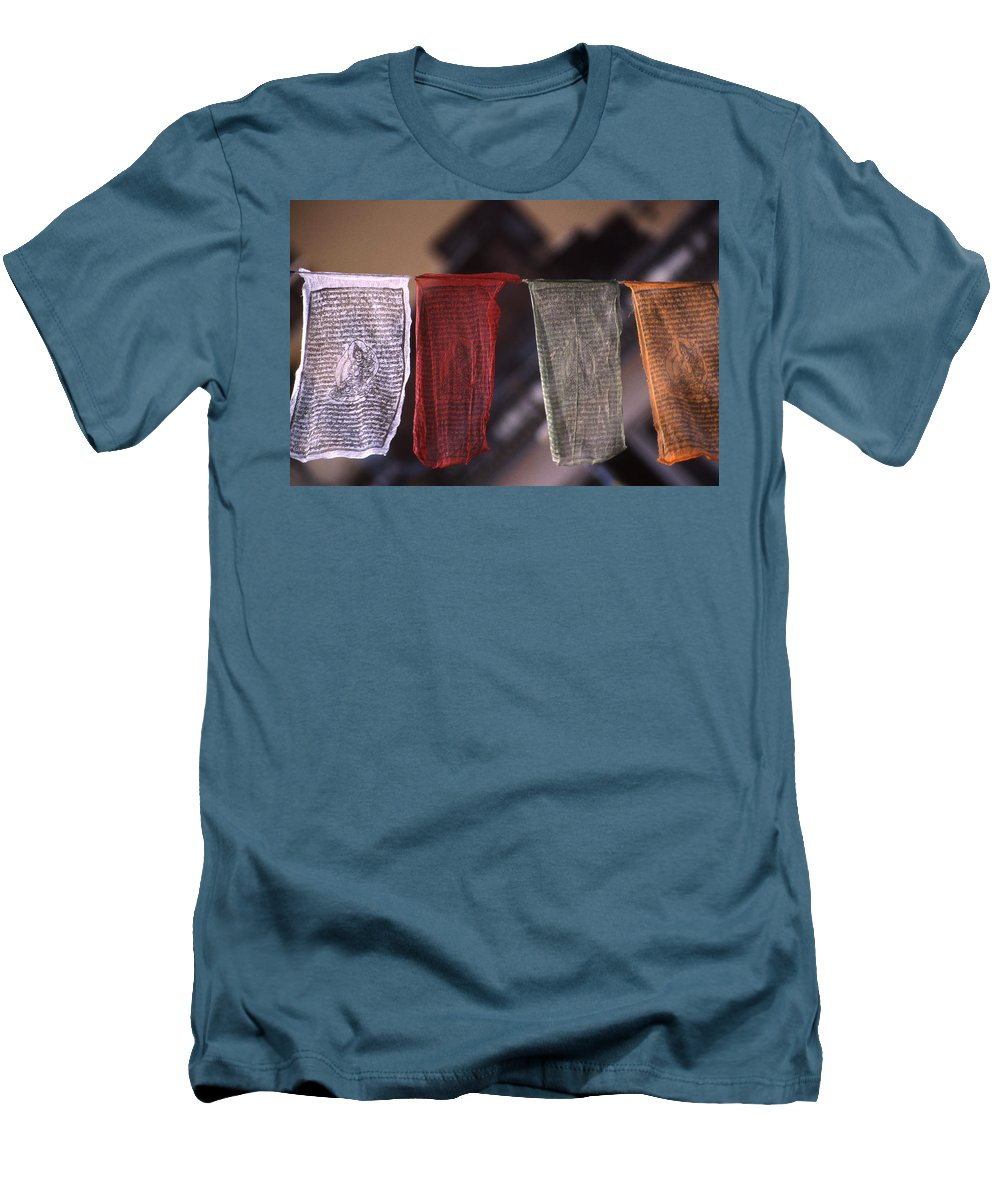 Prayer Flag Men's T-Shirt (Athletic Fit) featuring the photograph Tibetan Prayer Flags by Patrick Klauss