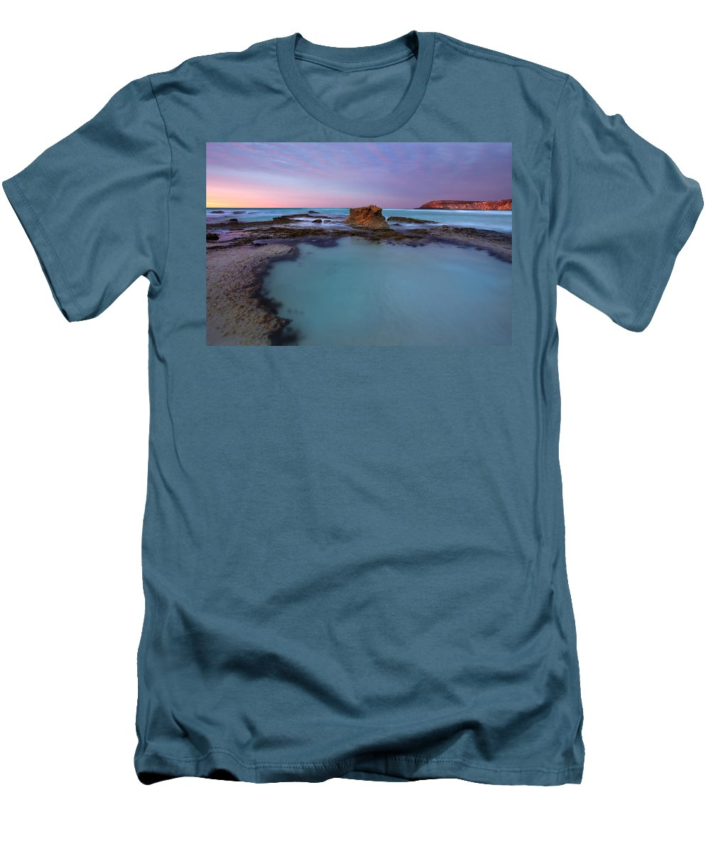Seascape Tidepools Men's T-Shirt (Athletic Fit) featuring the photograph Tidepool Dawn by Mike Dawson