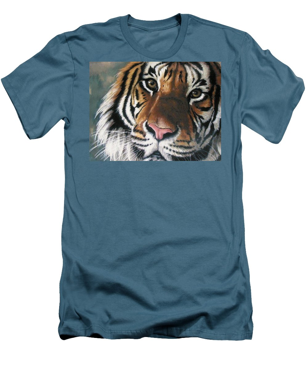 Tiger Men's T-Shirt (Athletic Fit) featuring the pastel Tigger by Barbara Keith