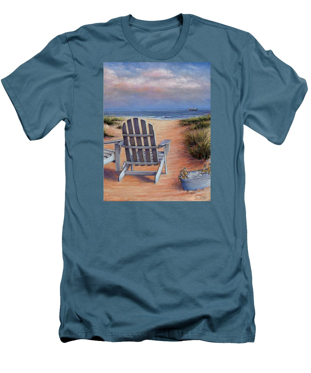 Landscape Men's T-Shirt (Athletic Fit) featuring the pastel Time To Chill by Susan Jenkins