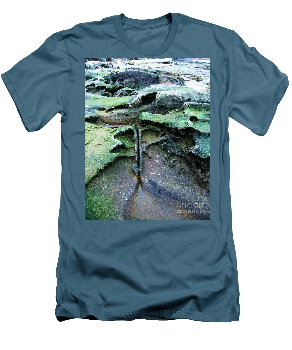 Photograph Rock Beach Ocean Men's T-Shirt (Athletic Fit) featuring the photograph Time Washed Out by Seon-Jeong Kim