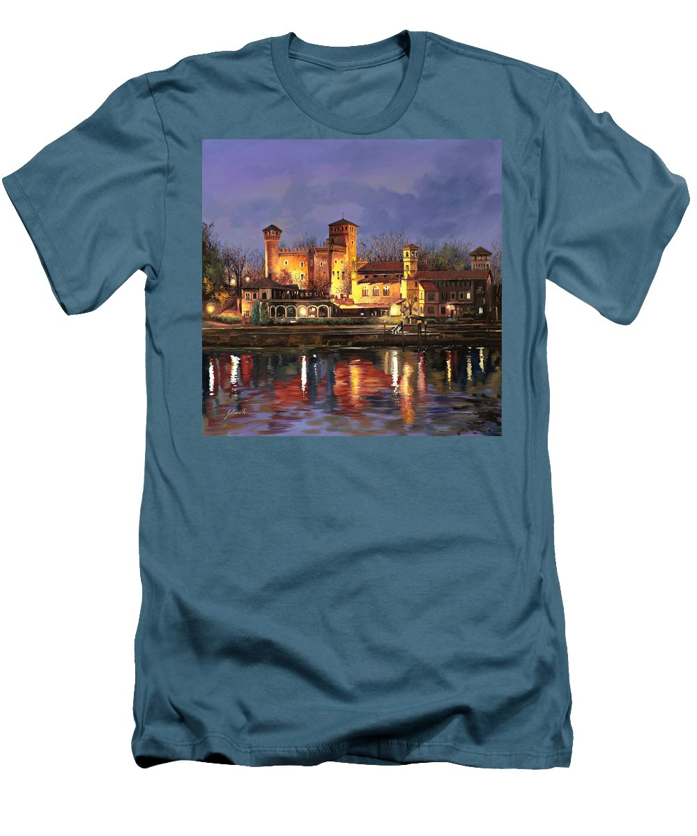 Castle Men's T-Shirt (Athletic Fit) featuring the painting Torino-il Borgo Medioevale Di Notte by Guido Borelli