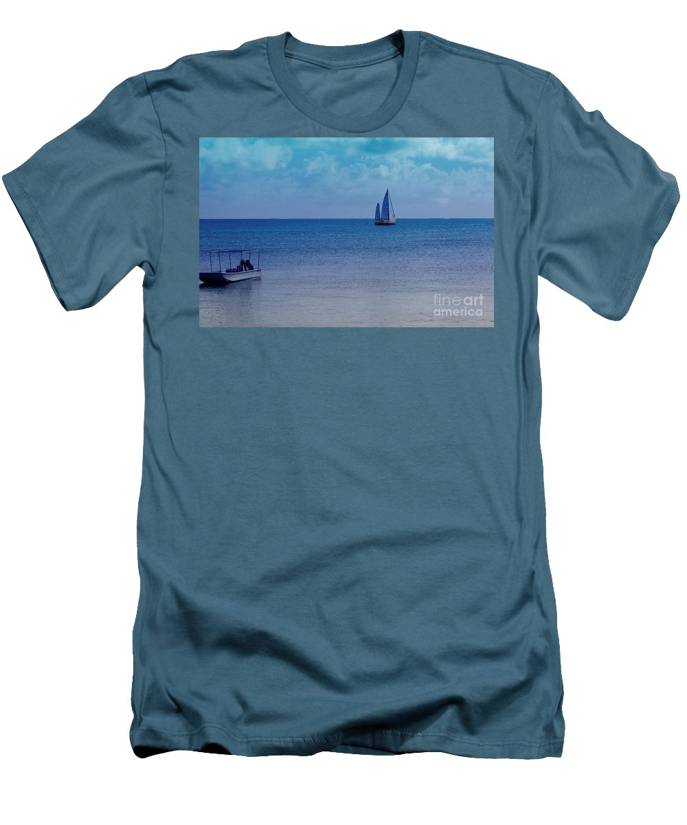Water Men's T-Shirt (Athletic Fit) featuring the photograph Tranquil Blue by Debbi Granruth