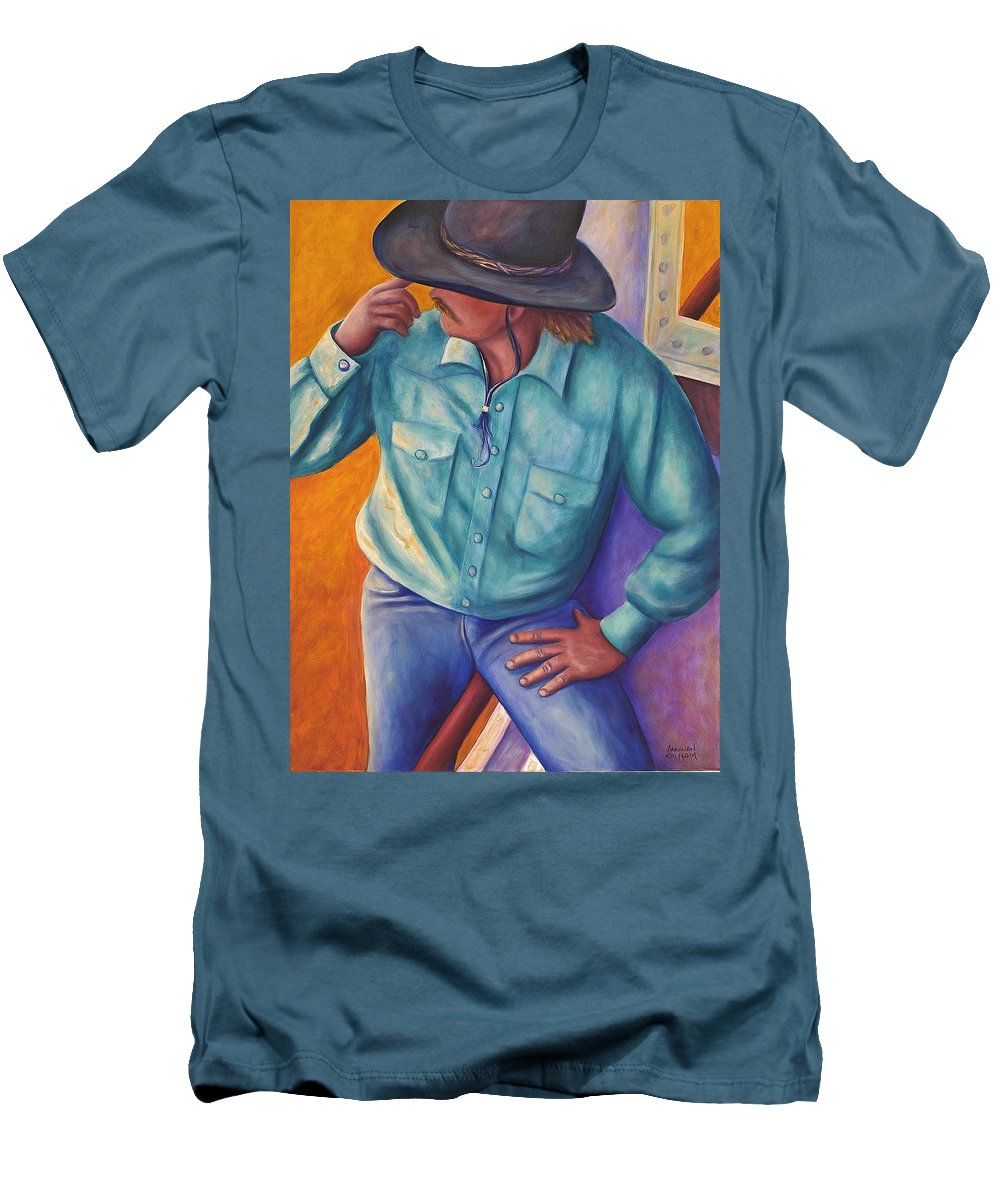 Cowboy Men's T-Shirt (Athletic Fit) featuring the painting Travelin Man by Shannon Grissom