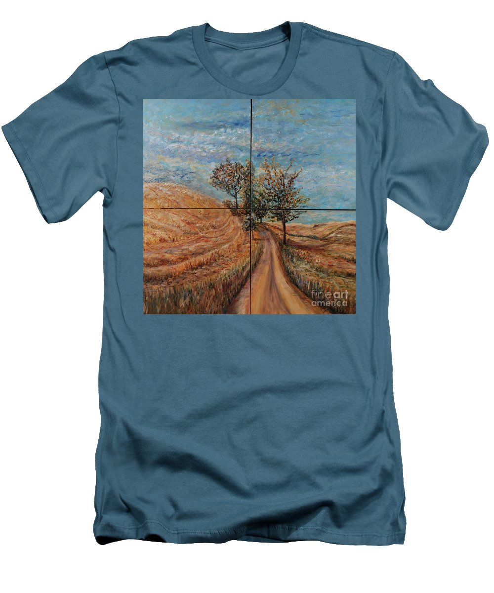 Landscape Men's T-Shirt (Athletic Fit) featuring the painting Tuscan Journey by Nadine Rippelmeyer