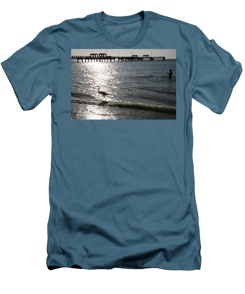Fort De Soto Men's T-Shirt (Athletic Fit) featuring the photograph Two Anglers At Fort De Soto by Mal Bray