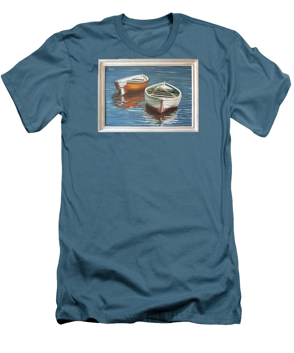 Boats Reflection Seascape Water Boat Sea Ocean Men's T-Shirt (Athletic Fit) featuring the painting Two Boats by Natalia Tejera