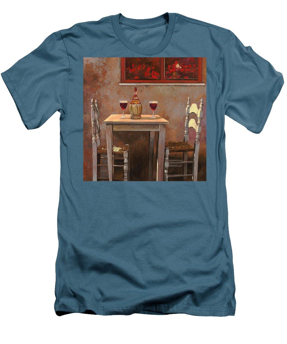 Chianti Men's T-Shirt (Athletic Fit) featuring the painting un fiasco di Chianti by Guido Borelli