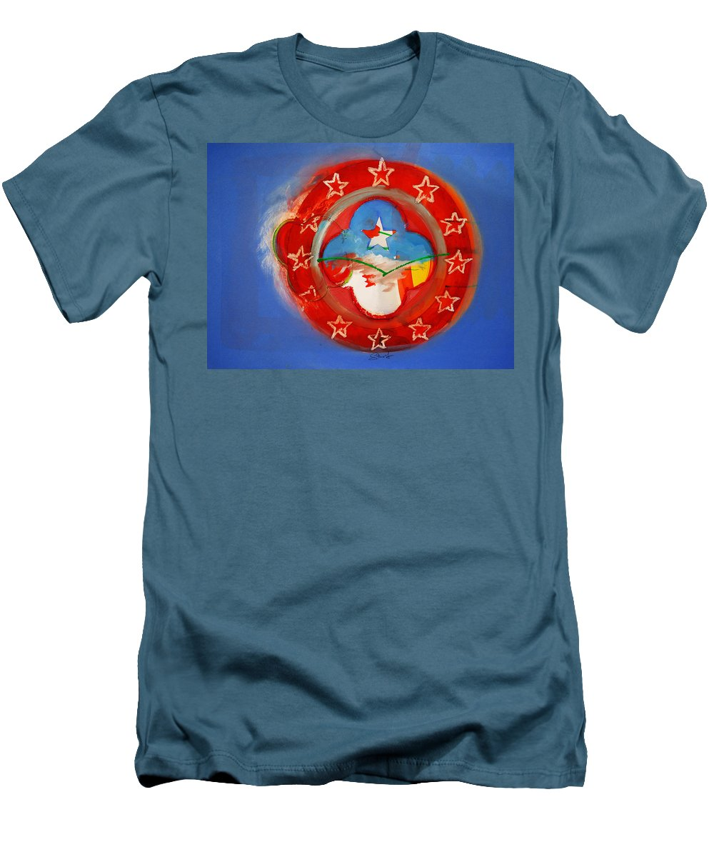 Symbol Men's T-Shirt (Athletic Fit) featuring the painting Union Blue by Charles Stuart