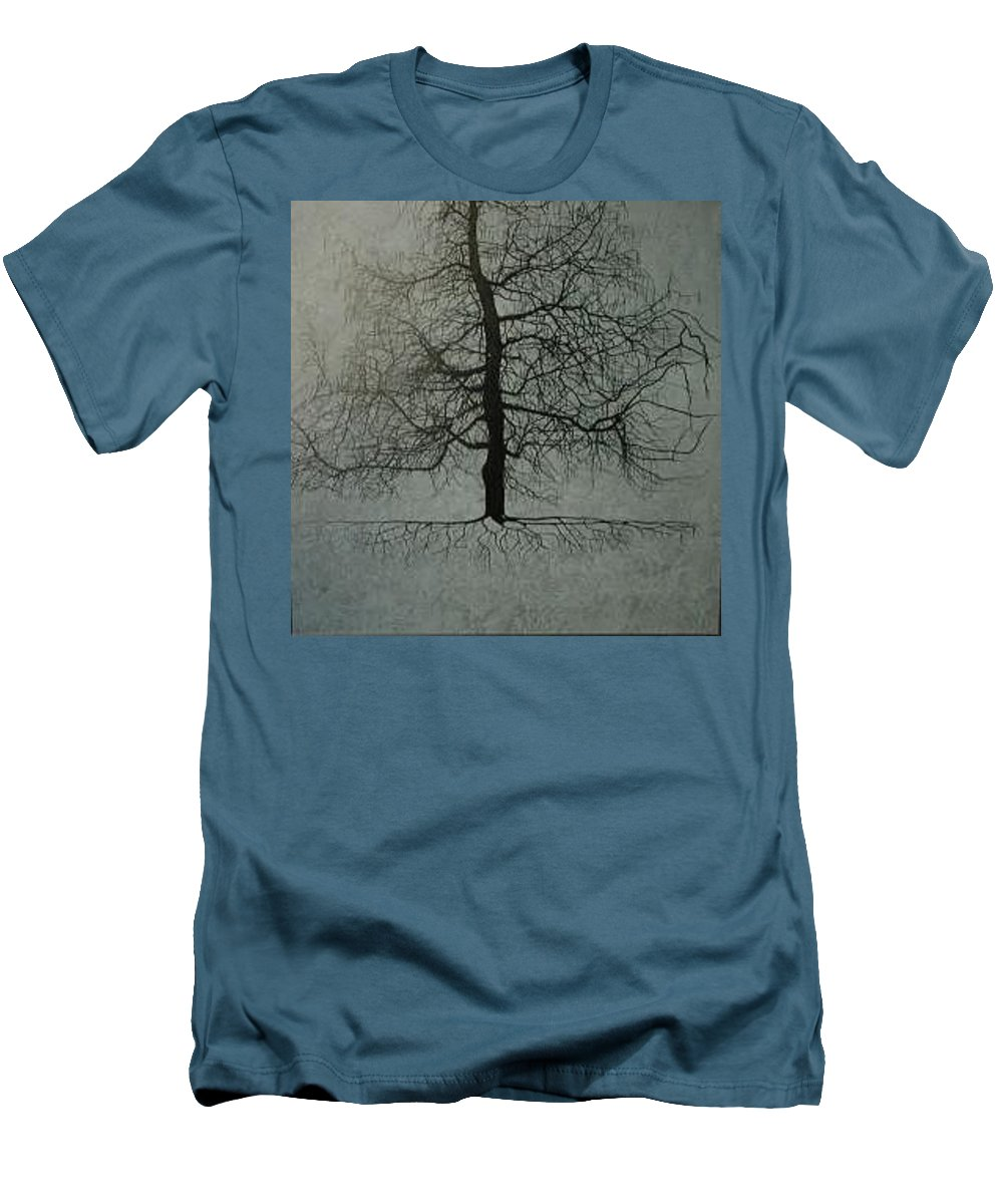 Silhouette Men's T-Shirt (Slim Fit) featuring the painting Untitled Blue by Leah Tomaino